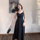 Dress Summer 2021 black S M L XL longuette singleton  Sleeveless commute V-neck Loose waist Solid color other A-line skirt other camisole 18-24 years old Type A Qiaonifen Korean version 51% (inclusive) - 70% (inclusive) other polyester fiber Polyester 60% other 40% Pure e-commerce (online only)