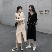 Dress Autumn of 2019 Apricot black S M XL L Mid length dress singleton  Long sleeves commute V-neck High waist Solid color Single breasted other other Others 18-24 years old Type H Qiaonifen Korean version 4294# More than 95% knitting polyester fiber Polyester 100% Pure e-commerce (online only)