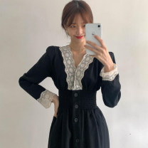Dress Autumn 2020 black S M L XL Mid length dress singleton  Long sleeves commute V-neck High waist other Socket A-line skirt routine Others 18-24 years old Type A Qiaonifen Korean version Patchwork lace 51% (inclusive) - 70% (inclusive) polyester fiber Polyester 60% other 40%