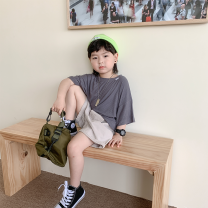 T-shirt Gray, white, black Other / other 100cm,110cm,120cm,130cm,140cm male summer Short sleeve leisure time There are models in the real shooting No detachable cap cotton Solid color Zy2118 shoulder drop primer t 2 years old, 3 years old, 4 years old, 5 years old, 6 years old, 7 years old