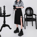 skirt Spring 2020 S,M,L black Mid length dress Versatile High waist other Solid color 18-24 years old 31% (inclusive) - 50% (inclusive) brocade polyester fiber 201g / m ^ 2 (including) - 250G / m ^ 2 (including)