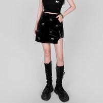 skirt Spring 2021 S,M,L black Short skirt Sweet High waist A-line skirt Type A 18-24 years old 31% (inclusive) - 50% (inclusive) polyester fiber Mori