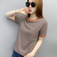 T-shirt Coffee Stripe Black Stripe S M L XL XXL Summer 2021 Short sleeve Crew neck easy Regular routine street polyester fiber 51% (inclusive) - 70% (inclusive) Thin horizontal stripe Nasiko Polyester fiber 64.5% viscose fiber (viscose fiber) 30.3% polyurethane elastic fiber (spandex) 5.2%