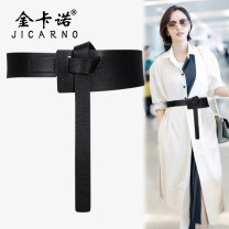 Belt / belt / chain top layer leather Black and red female belt Versatile Single loop Young and middle aged Leather decoration soft surface 7cm Heavy line decoration Jicarno / jincarno JKN0898 Winter of 2019 yes