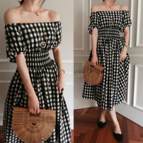 Dress Summer 2021 Black green blue red S M L XL Mid length dress singleton  Short sleeve commute One word collar High waist lattice Socket A-line skirt bishop sleeve Others 18-24 years old Type A Luo · Jia Korean version Ruffle pleated zipper print More than 95% other Other 100%