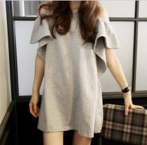 Dress Summer 2021 White black grey S M L XL Short skirt singleton  commute Crew neck Solid color Socket Others 25-29 years old Luo · Jia Korean version Lotus leaf edge More than 95% other Other 100% Pure e-commerce (online only)