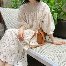 Dress Spring 2021 Black and white S M L XL Mid length dress singleton  Short sleeve commute Crew neck Loose waist Solid color Socket Big swing routine Others 25-29 years old Luo · Jia Korean version Pleated button lace More than 95% cotton Cotton 100% Pure e-commerce (online only)