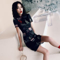 cheongsam Summer of 2019 S M L XL XXL Blue red crown meow animal pink fan cartoon bamboo national style Short sleeve Short cheongsam Retro High slit daily Oblique lapel Architecture 18-25 years old Embroidery JQY0240 Jekya other Other 100% Pure e-commerce (online only)