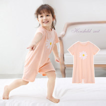Home suit one piece Chacha bear Cotton 95% polyurethane elastic fiber (spandex) 5% 80cm 90cm 100cm 110cm 120cm neutral Q8222. summer cotton Class A Sweat absorption and moisture absorption at home Under 1 year old, 1-3 years old, 3-5 years old Summer 2020 Chinese Mainland