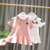 T-shirt White, pink Other / other 80 (70-80), 90 (80-85), 100 (90-95), 110 (95-100), 120 (100-108), 130 (108-120) female Short sleeve other Cartoon animation Three months, six months tassels