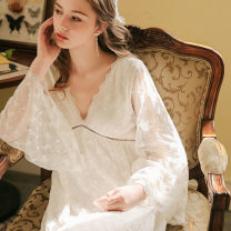 Nightdress Haizi is blue white 155(S),160(M),165(L),170(XL) sexy Long sleeves Leisure home longuette autumn Solid color youth V-neck Polyester (polyester) Embroidery More than 95% Mesh fabric Lace embroidered nightdress 220g
