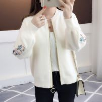 sweater Winter of 2019 S M L XL 2XL 3XL Long sleeves Cardigan singleton  have cash less than that is registered in the accounts other 95% and above Crew neck thickening bishop sleeve Solid color Straight cylinder 18-24 years old Embroidery Other 100% Pure e-commerce (online only) zipper