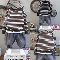 suit Spring of 2019 Step by step duck 3 years old, 4 years old, 5 years old, 6 years old, 7 years old, 8 years old, 9 years old, 10 years old, 11 years old spring and autumn male Long sleeve + pants Korean version routine 2 pieces stripe Cotton blended fabric Condom nothing B339 Class C children