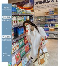 Dress Summer 2021 White, green Average size Mid length dress singleton  Short sleeve commute Polo collar High waist Solid color Socket other puff sleeve Others Type H Yang paopaopao Korean version Patch, button Polo skirt with black logo at hem More than 95% polyester fiber