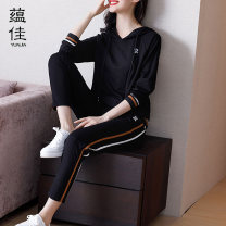 Casual suit Spring 2020 Black two piece set M L XL XXL XXXL 4XL 25-35 years old YJYS11122 Yunjia Viscose fiber (viscose fiber) 68% polyamide fiber (nylon fiber) 27% polyurethane elastic fiber (spandex) 5% Pure e-commerce (online only)