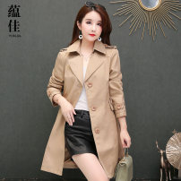 Windbreaker Autumn of 2019 7XL 2XL 3XL 4XL 5XL 6XL Khaki black Long sleeves routine Medium length commute Single breasted tailored collar routine Solid color Straight cylinder Britain Yunjia YJZK1742 Pocket strap epaulet button 96% and above polyester fiber Polyester 100%