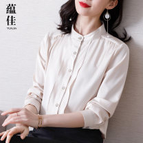 shirt Apricot Brown M L XL 2XL 3XL 4XL Spring 2020 polyester fiber 96% and above Long sleeves commute Regular stand collar shirt sleeve Solid color 30-34 years old Straight cylinder Yunjia Korean version YJYSSS027 Lotus edge wave Polyester 100% Pure e-commerce (online only)