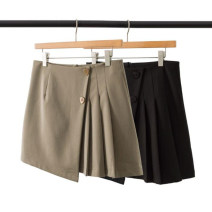 Women's large Summer 2021 Brown Black L XL 2XL 3XL 4XL skirt singleton  commute moderate Solid color Simplicity polyester B2756-1 Chaojie International 18-24 years old Button Short skirt Polyester 100%
