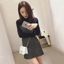 Women's large Autumn of 2019 black Large L, large XL, s, M singleton  commute moderate Long sleeves lattice Korean version Crew neck routine Three dimensional cutting other Sandro Moscoloni 81% (inclusive) - 90% (inclusive) Short skirt