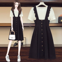 Dress Summer 2021 black L,XL,2XL,3XL,4XL Mid length dress Two piece set Short sleeve commute Crew neck High waist Solid color Socket A-line skirt routine straps 30-34 years old Type A Retro Stitching, strap
