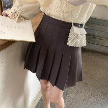 skirt Summer 2021 S,M,L,XL White, black, dark coffee Short skirt commute High waist Umbrella skirt Solid color Type A 18-24 years old 51% (inclusive) - 70% (inclusive) other Other / other cotton Korean version