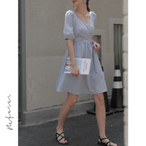 Dress Summer 2021 blue M L Short skirt singleton  Short sleeve commute V-neck High waist Decor Socket A-line skirt puff sleeve Others 18-24 years old Type A Honey Princess Korean version Bow zipper MFE212X032630 More than 95% other Other 100% Pure e-commerce (online only)