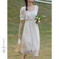 Dress Summer 2021 Apricot F / average size Mid length dress singleton  Short sleeve commute square neck High waist Solid color Socket A-line skirt puff sleeve Others 18-24 years old Type A Honey Princess Korean version Auricularia auricula splicing MFE212B032421 More than 95% other Other 100%