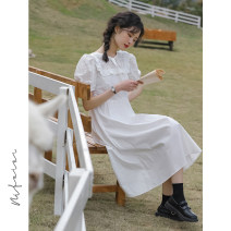 Dress Summer 2021 White black M L Mid length dress singleton  Short sleeve commute Crew neck High waist Solid color Socket A-line skirt puff sleeve Others 18-24 years old Type A Honey Princess Korean version Hollow tie MFE212032420 More than 95% other Other 100% Pure e-commerce (online only)