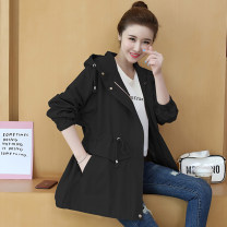 Women's large Autumn of 2019 Black Blue Green Leather Pink hzsxn6805 leather red hzsxn6805 blue hzsxn6805 purple 7581 pink 7581 water blue Windbreaker singleton  commute easy moderate Cardigan Long sleeves Solid color Korean version Hood Medium length cotton routine GZ9929 Color Shina 18-24 years old