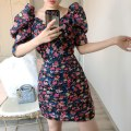 Dress Spring 2020 Broken flowers S,M,L Middle-skirt singleton  Short sleeve Sweet V-neck High waist Decor zipper One pace skirt puff sleeve Others Type A More than 95% cotton Ruili