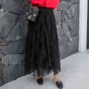 skirt Winter of 2018 Skirt length 86cm, waist one size fits all Pink gray apricot navy blue black white Mid length dress commute High waist Irregular Solid color Type A 25-29 years old BK-9002 More than 95% Boke polyester fiber Three dimensional decorative wave mesh splicing of Auricularia auricula