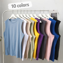 Vest / vest Youth fashion Yuzhong M L XL 2XL 3XL Apricot blue white dark green b001-b006-pink black B001 Other leisure easy Sweat vest thin summer Crew neck teenagers 2021 tide -B001 /*- Solid color Socket Straight hem Cotton 100% No iron treatment Summer of 2019 Pure e-commerce (online only)
