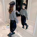 suit Other / other Black, white spring Korean version Long sleeve + pants 2 pieces routine There are models in the real shooting Socket stripe Pure cotton (100% cotton content) Class B