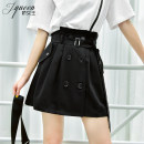 skirt Summer 2020 XS S M L XL Black and white Short skirt commute High waist A-line skirt Solid color Type A 25-29 years old J20XQ4691 91% (inclusive) - 95% (inclusive) Charming queen polyester fiber Pocket strap button Korean version Polyester 92.5% polyurethane elastic fiber (spandex) 7.5%