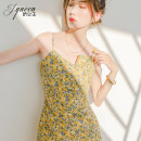 Dress Summer 2021 Yellow and purple flowers XS S M L XL Short skirt singleton  Sleeveless commute High waist Decor zipper One pace skirt other camisole 18-24 years old Type X Charming queen Korean version printing J20XQ4675 More than 95% polyester fiber Polyester 100% Pure e-commerce (online only)