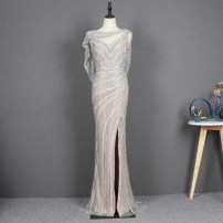Dress / evening wear Adult ceremony, party, company annual meeting, performance, routine, appointment Xs, s, m, l, XL, custom size, non exchangeable silver gray Korean version longuette middle-waisted fish tail Deep collar V zipper Netting 18-25 years old Sleeveless Nail bead Solid color routine