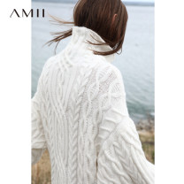 Dress Winter of 2018 Mid length dress singleton  Long sleeves commute High collar Loose waist Solid color routine 25-29 years old Amii Simplicity More than 95% other Other 100%