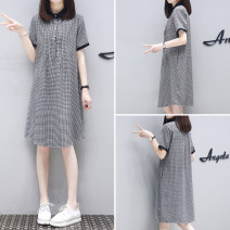 Dress Summer 2021 Black and white check S,M,L,XL,2XL,3XL Middle-skirt singleton  Short sleeve street Polo collar Loose waist lattice Three buttons A-line skirt Others Type A 81% (inclusive) - 90% (inclusive) cotton Europe and America