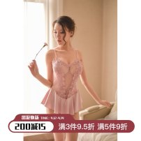 Dress Spring of 2018 Black, white, pink, lotus root pink M80-110kg, l110-130kg Miniskirt singleton  Sleeveless Sweet V-neck Solid color camisole 25-29 years old Other / other Hollowed out, bare back nylon princess