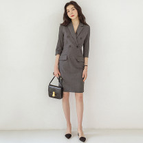 Dress Spring 2021 Gray, black, gray [unlined summer thin], black [unlined summer thin], gray [lined spring and autumn], black [lined spring and autumn], black [suit dress autumn and winter], gray [suit dress autumn and winter] 2XL,S,M,L,XL Middle-skirt singleton  Long sleeves commute tailored collar