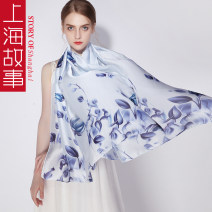 Scarf / silk scarf / Shawl other Light pink flowers and blue flowers Spring and summer female Scarves / scarves multi-function Countryside rectangle Young and middle aged Plants and flowers printing 90cm 180cm Shanghai Story QL0825-11 Spring 2021