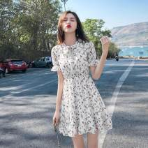 Dress Summer 2021 Floral Dress S,M,L,XL Short skirt singleton  Short sleeve commute Doll Collar High waist Decor Socket A-line skirt routine Type A Sandro asw Bow, Ruffle 91% (inclusive) - 95% (inclusive) polyester fiber