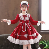Dress Red long sleeve, blue long sleeve, red long sleeve + headdress, blue long sleeve + headdress, red short sleeve, blue short sleeve, red short sleeve + headdress, blue short sleeve + headdress female Doveark 110cm,120cm,130cm,140cm,150cm,160cm Polyester 80% cotton 20% spring and autumn princess