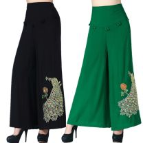Casual pants Red, green, black, black thick, red thick, green thick Xl-2-2-2, 2xl-2-3-2-4, 3xl-2-5-2-6, 4xl-2-7-2-8 Summer 2016 Ninth pants Wide leg pants High waist commute 96% and above JYJ531 Cotton blended fabric ethnic style Embroidery