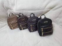 Backpack PU Other / other brand new large zipper leisure time Double root European and American fashion soft youth no Soft handle Solid color nothing male Vertical square inside pocket with a zipper polyester fiber 13 inches Three dimensional bag other