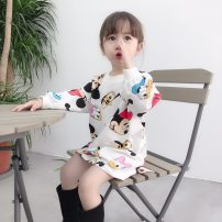 Dress Grey white dress female Bala rabbit 80cm 90cm 100cm 110cm 120cm 130cm mom one size fits all Other 100% spring and autumn leisure time Long sleeves other cotton Splicing style BLT-QZ9090 Class A Autumn of 2019 12 months, 6 months, 9 months, 18 months, 2 years, 3 years, 4 years, 5 years, 6 years