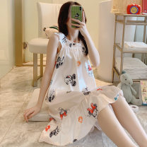 Nightdress Other / other 160(M),165(L),170(XL),175(XXL) Sweet camisole Living clothes longuette summer Cartoon animation youth square neck Iced silk printing More than 95% polyester fiber