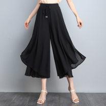 Casual pants black M,L,XL,2XL,3XL,4XL Summer 2021 Ninth pants Wide leg pants High waist Versatile Thin money 25-29 years old 71% (inclusive) - 80% (inclusive) belt polyester fiber