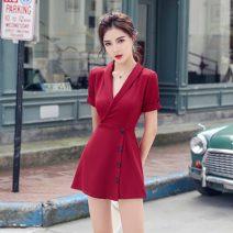 Dress Summer 2020 S,M,L,XL Short skirt singleton  Short sleeve commute tailored collar High waist Solid color Type A