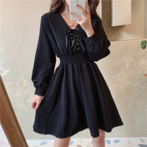 Dress Autumn 2020 black M,L,XL,2XL,3XL,4XL Mid length dress singleton  Long sleeves commute V-neck Elastic waist Solid color zipper A-line skirt Type A Retro Bandage